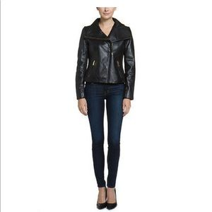 T Tahari Lisette Black Leather Moto Jacket, $495,